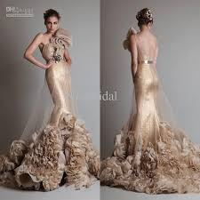 luxurious gold sleeveless one shoulder mermaid trumpet