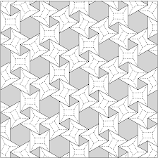 Origami Tessalation - 3 6 3 6 waterbomb flagstone tessellation crease pattern