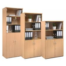 Wood Bookcase With Doors Standard Office Combination Bookcase Cupboard Units With Glass