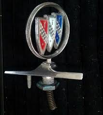 vintage 1980s buick tri shield with chrome base ornament