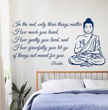 quotes about letting go yoga buddha wall decals quote only three things matter yoga gym
