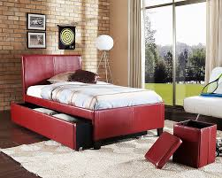 bed room japanese style interior beige red with wall mounted