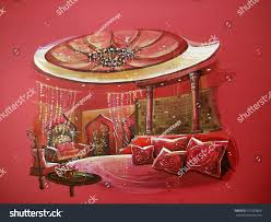 Bedroom Interior Indian Style Red Indian Style Bedroom Interior Round Stock Illustration