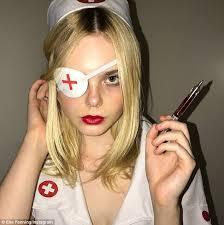 naughty nurse elle fanning dresses up in kill bill costume daily