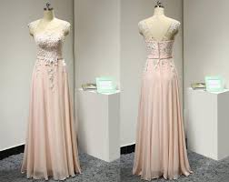 blush pink long bridesmaid dress with pearls beaded lace appliques