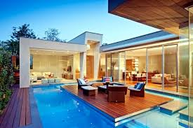 home with pool modern house in canterbury a wooden deck by the pool interior