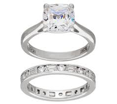 wedding ring set for diamonique 100 facet cushion bridal ring set platinum clad page