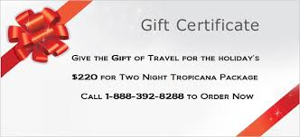 hotel gift certificates give the gift of travel to atlantic city for a or