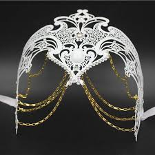silver masquerade masks for women phantom filigree white black silver gold italy chain venetian