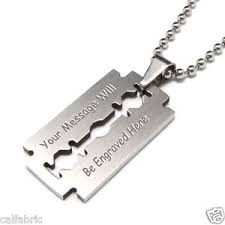 custom engraved necklace pendants custom engraved personalized stainless steel razor blade necklace