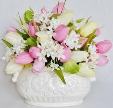 artificial flower arrangement pink yellow u0026 green crocus cream