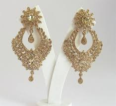 bridal gold earrings antique gold indian by beauteshoppe