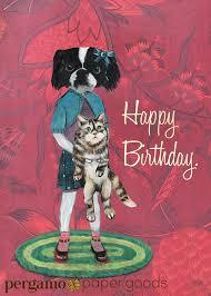 japanese chin birthday card birthday dog card dog and cat art