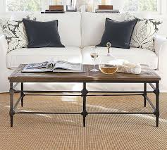 wood metal end table parquet reclaimed wood rectangular coffee table pottery barn