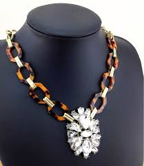 crystal link necklace images New tortoise shell antique gold link glass crystal pendant jpg