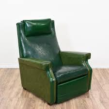 mid century modern green vinyl recliner loveseat vintage