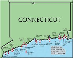 connecticut on map connecticut lighthouse map