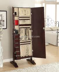 brown jewelry armoire decorating beautiful wooden standing mirror jewelry armoire in