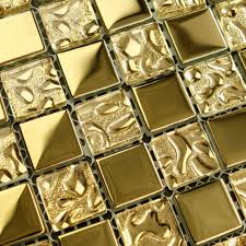 glass mosaic tile sheets gold bathroom wall stickers kitchen