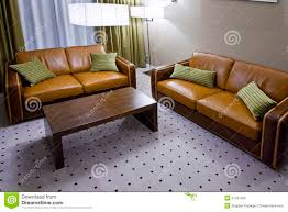 Brown Leather Sofas Two Brown Leather Sofas In Living Room Stock Images Image 21337264