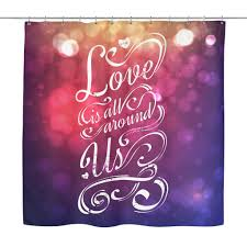 Romanian Love Quotes by Love Is All Around Us U0027 Love Quotes Shower Curtain Good Morning Quote
