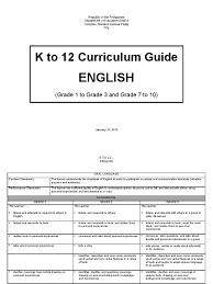 english k to 12 curriculum guide grades 1 to 3 7 to 10