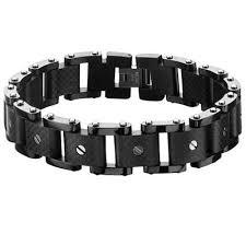 leather metal bracelet images Black metal mens bracelets tribal hollywood jpg