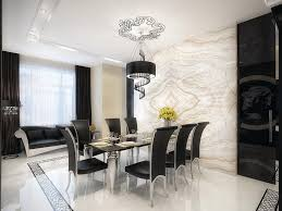 luxury marble dining room and chairs idea with black furniture