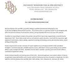 light equipment operator job description firefighter advanced emt deforest windsor fire district wisconsin