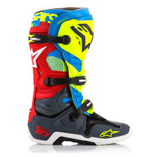 motocross boots size 10 alpinestars mx boots tech 10 anthracite aqua red union limited