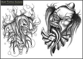 new colored clown tattoos designs