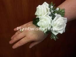 White Rose Wrist Corsage 3b Artificial Silk Triple White Roses Wrist Corsage On Pearl