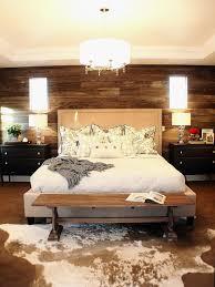 bedroom accent wall colors dark brown varnished oak wood bed frame