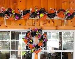 orange black wreath etsy