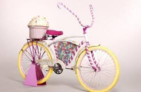 cupcake delivery foodista the candy bicycle is for a ride in candy land