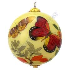 painted glass butterfly ornament