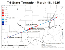 United States Map Missouri by The Tri State Tornado Of 1925 U S Tornadoes