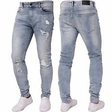 light stone washed mens jeans enzo mens stretch skinny ripped distressed light blue jeans denim