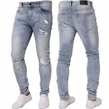 mens light blue jeans skinny enzo mens stretch skinny ripped distressed light blue jeans denim