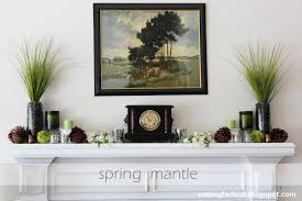 spring fireplace mantel setting for four