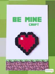 minecraft valentines minecraft valentines with perler bead hearts print make at home