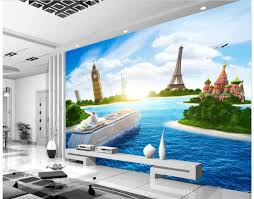 3d murals wallpaper for living room cruise ship sea view tv