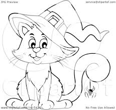 clipart of a cute black and white lineart halloween witch cat with