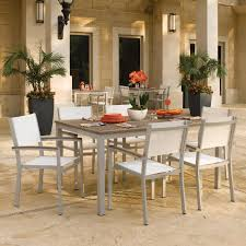Stackable Aluminum Patio Chairs by Travira 7 Piece Aluminum Patio Dining Set W Natural Sling
