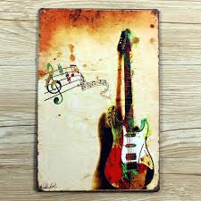 Home Decor Signs And Plaques Retro Painting Wall Art Decor Painting Tin Plate Signs Music