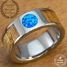 8mm ring titanium 8mm ring with blue opal hawaiian koa wood inlay