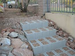 concrete block steps diy better than climbing the slippery rocks