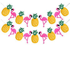 tropical decorations banner flamingo pineapple