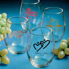 personalized glasses wedding stemless wine glass favors personalized favors
