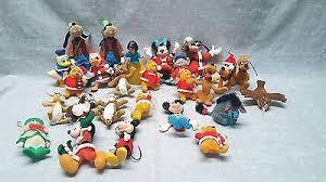 vintage disney flocked ornaments mickey donald snow